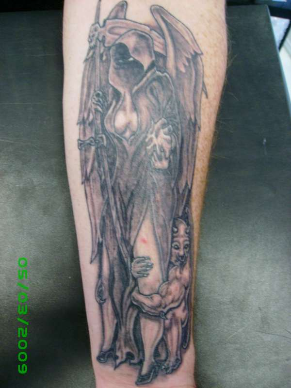 Gargoyle Reaper Mythical Greywash Tattoo Design