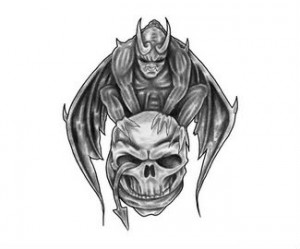 Gargoyle Sitting On Skull Tattoo Sample