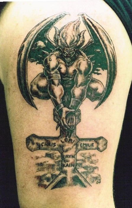 Gargoyle Tattoo On Shoulder For Men