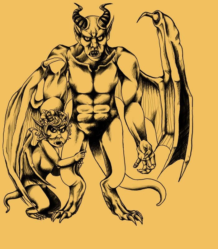 Gargoyle With Child Tattoo Poster