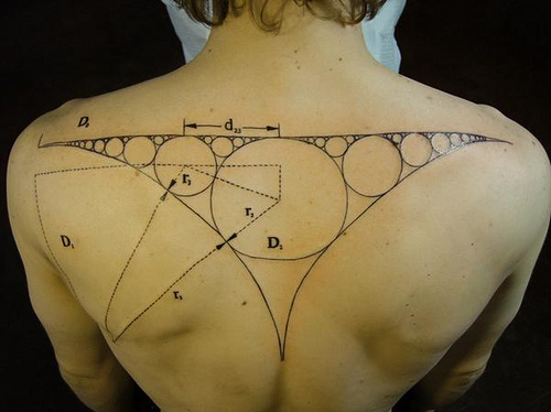 Geek Science Tattoo On Upper Back