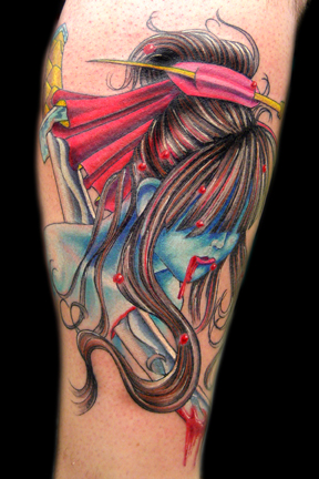 Geisha Head w Sword Tattoo Design