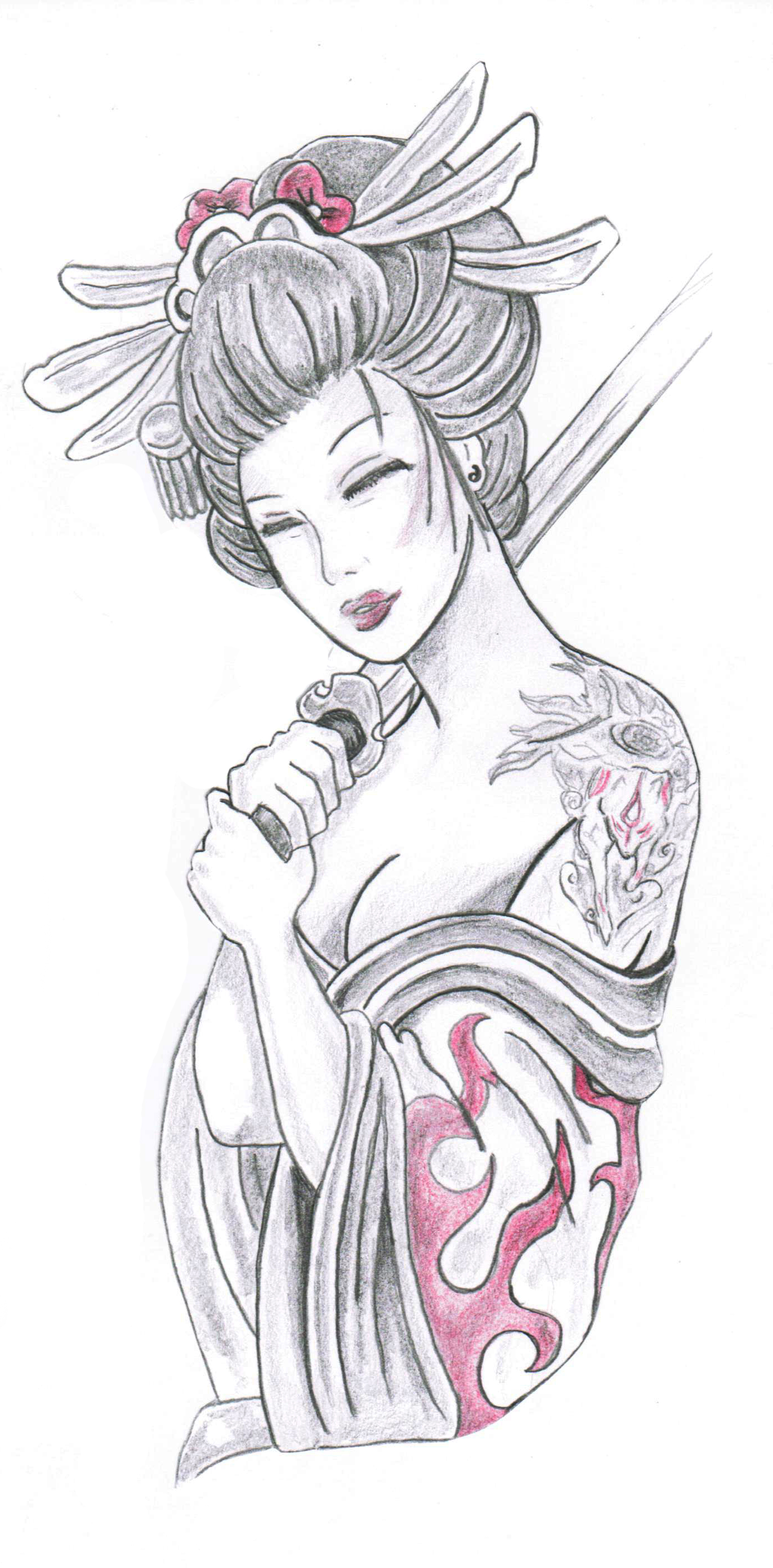 Geisha Holding Sword Tattoo Design