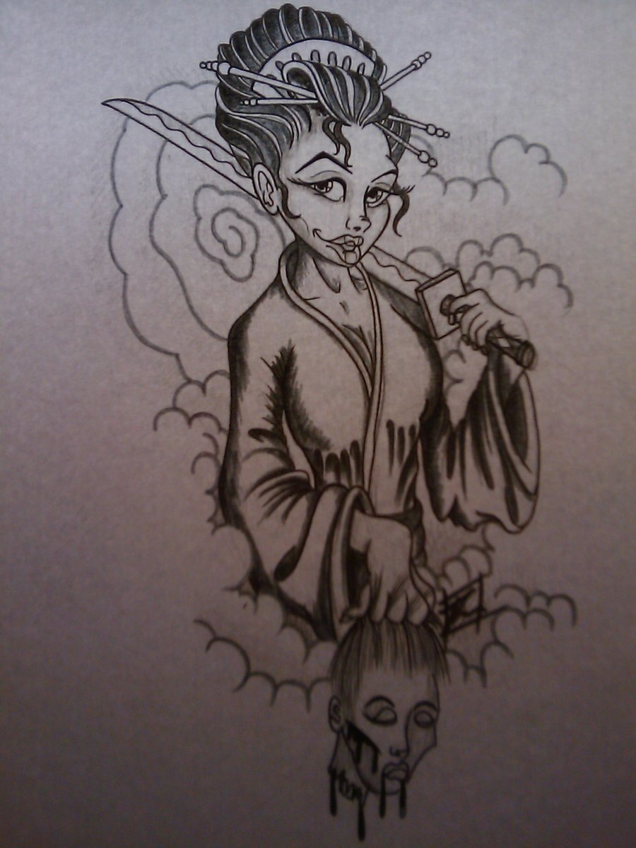 Geisha Pin Up Tattoo Design