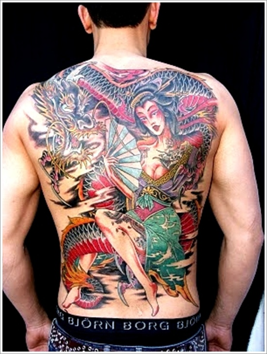 Geisha Tattoo Design For Men On Back Body