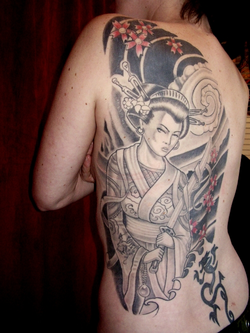 Geisha With Sword Tattoo On Back Shoulder