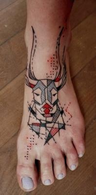 Geometric Deer Head Tattoo On Foot