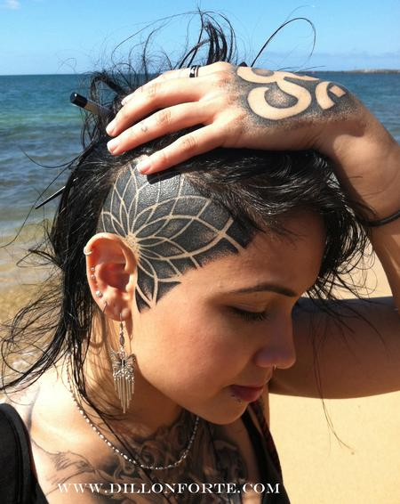 Girl With Head Tattoo Design On Beach