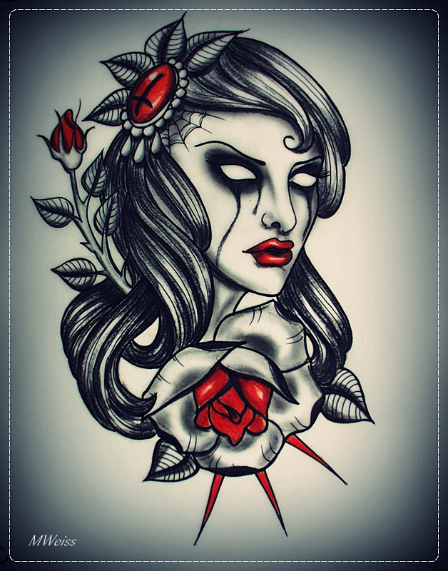 Skull And Roses Tattoo For Girls