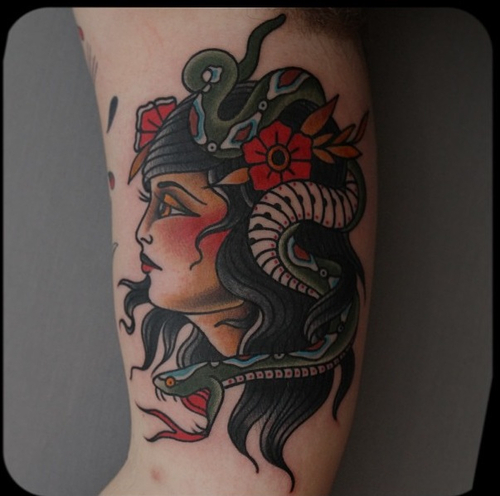 Girl With Snake On Head Traditional Tattoo