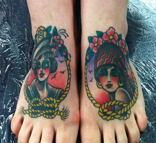Girls Head Tattoo Designs On Feet