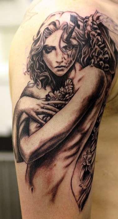 Gothic Girl Tattoo On Shoulder