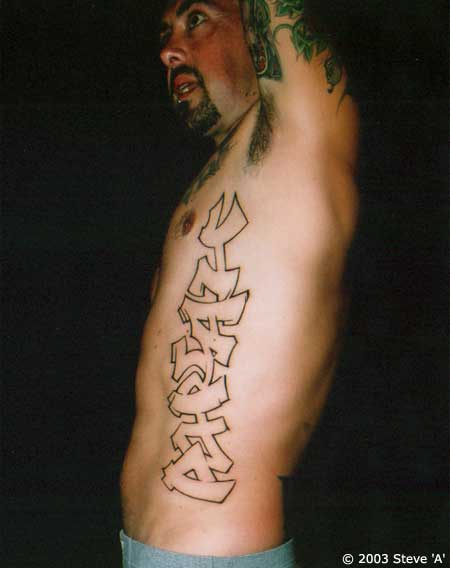 Graffiti Tattoo On Rib Side For Men
