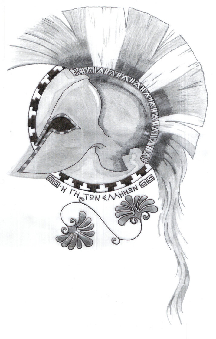 Greece The Land Of Light Archient Greek Helmet Tattoo Sketch