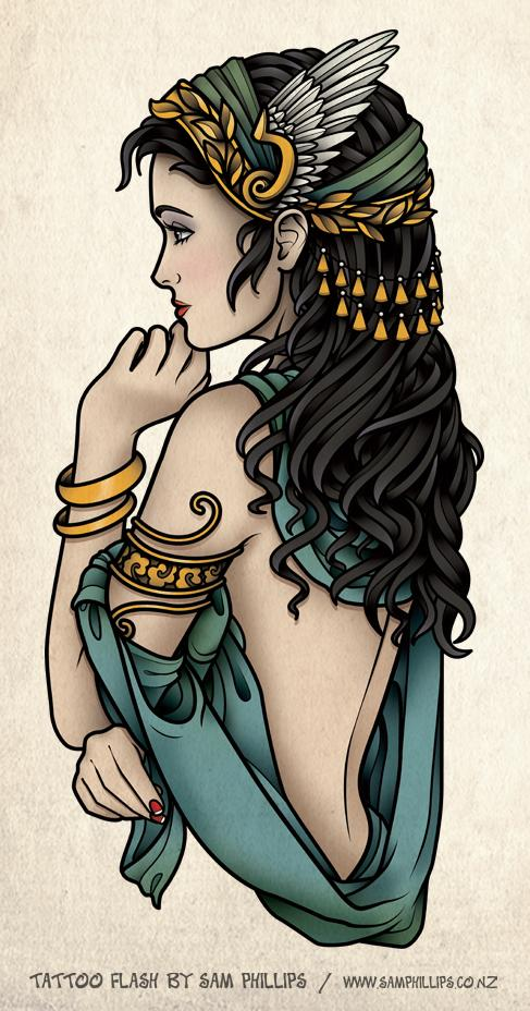 Greek Goddess Tattoo Design
