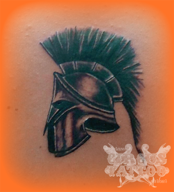 Greek Helmet Tattoo Design