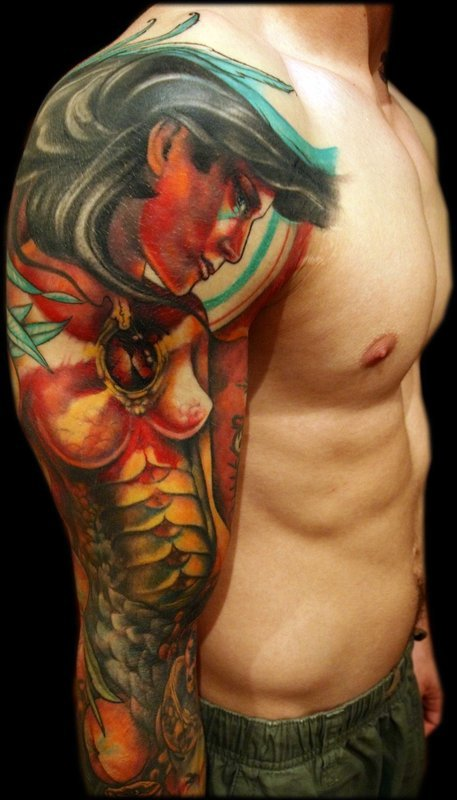 Greek Mythology Sleeve Tattoo Design For Men