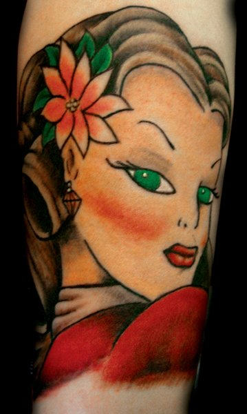Green Eyed Pin Up Girl Tattoo Design