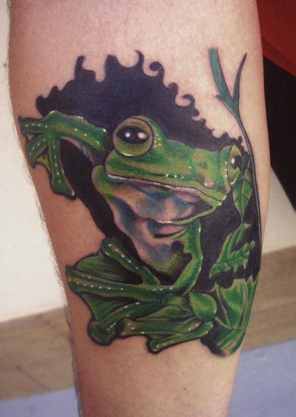 Green Frog Tattoo Design