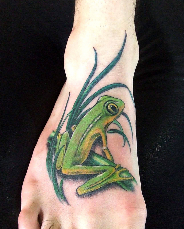 Green Frog Tattoo For Foot