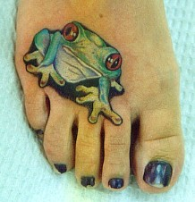 Green Frog Tattoo For Girls