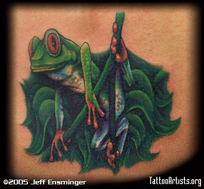 Green Frog Tattoo Image