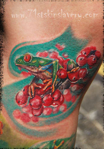 Green Tree Frog Tattoo Design