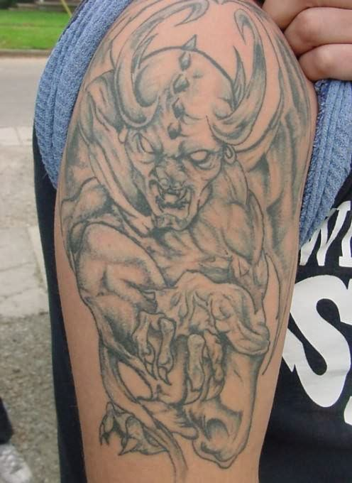 Grey Ink Gargoyle Tattoo Design On Right Shoulder