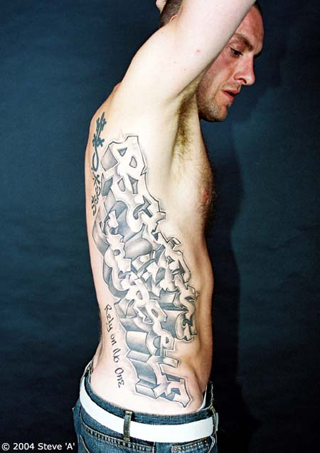 Grey Ink Graffiti Tattoo On Ribs For Men