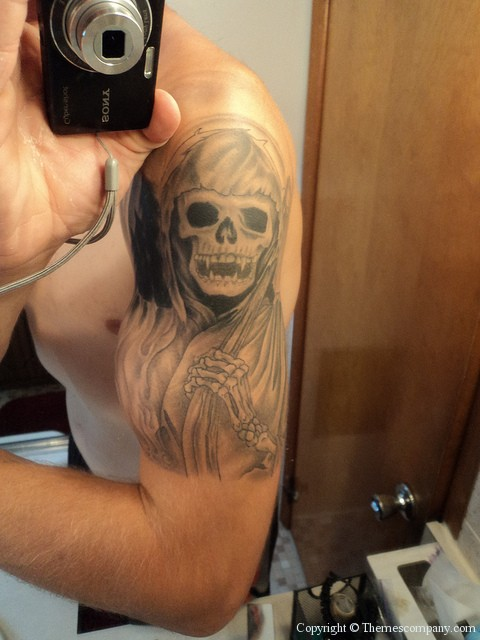 Grey Ink Grim Reaper Tattoo On Shoulder