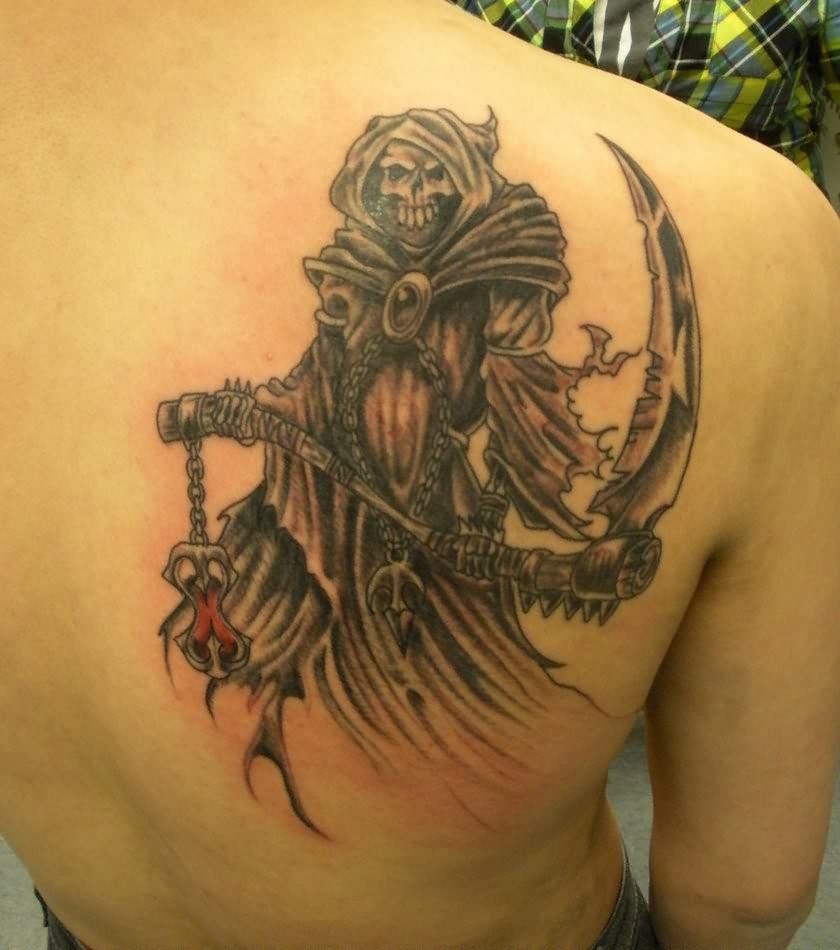 Grim Reaper Back Shoulder Tattoo For Men