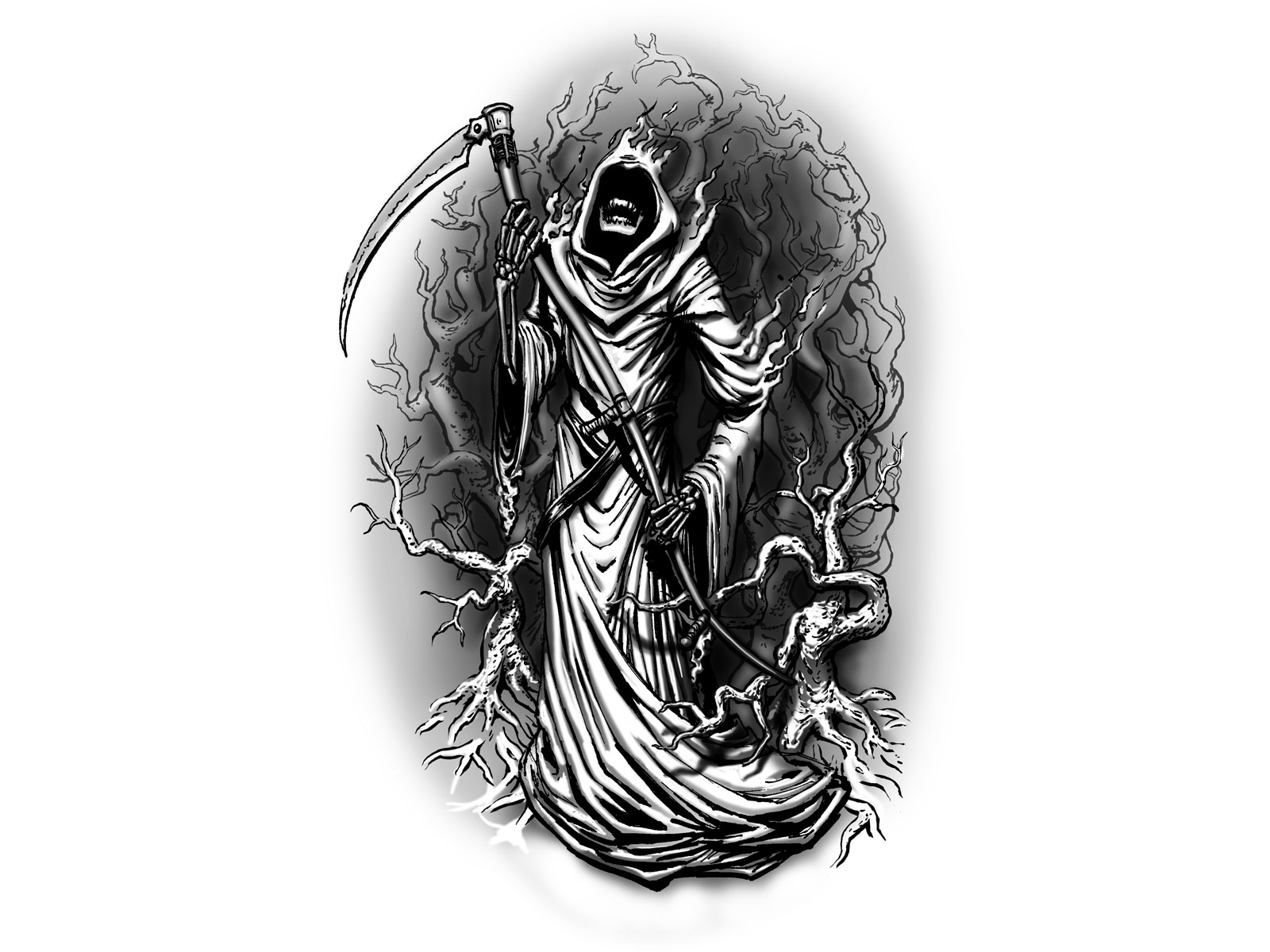 Grim Reaper In The Wood Looks Scary Tattoo Design