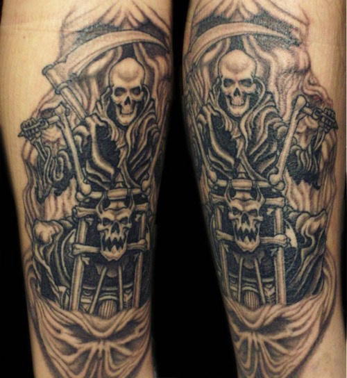 Grim Reaper Motorcycle Tattoo Design