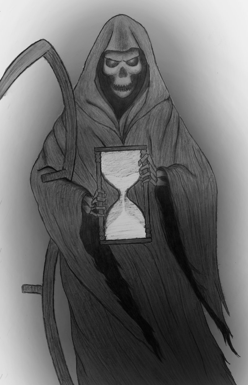 Grim Reaper n Hourglass Tattoo Design