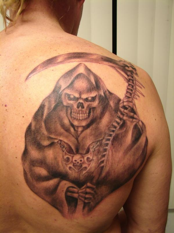 Grim Reaper Tattoo For Men On Back Of Shoulder