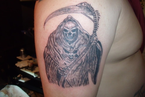 Grim Reaper Tattoo On Shoulder For Men's Image