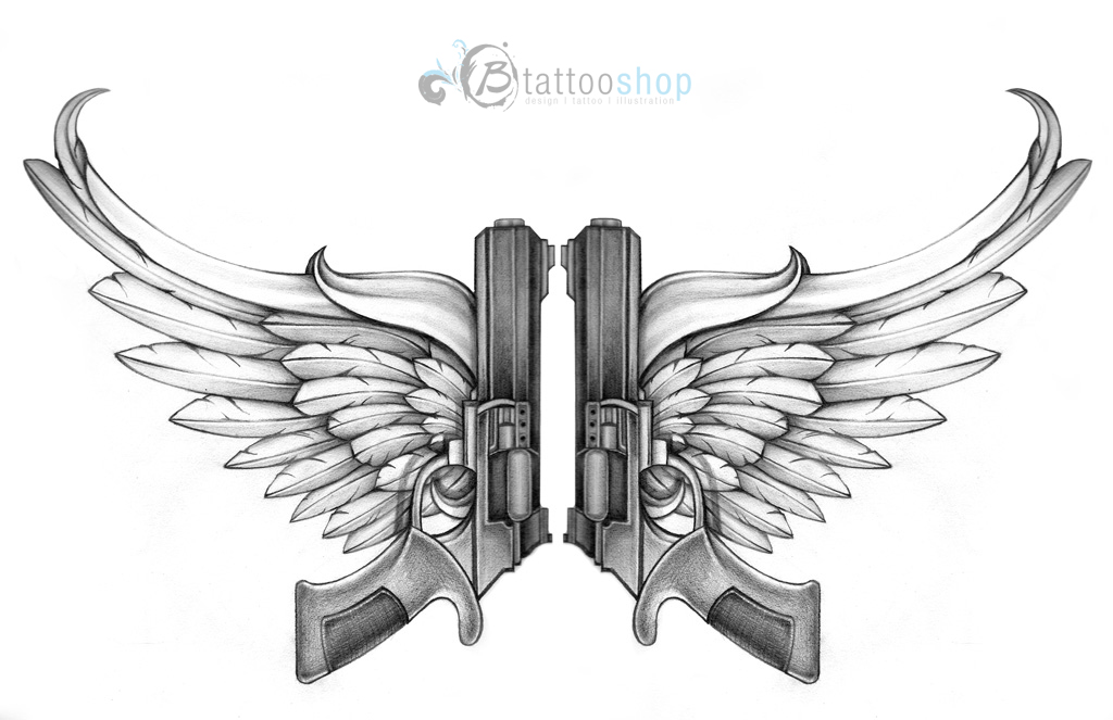 Guns With Angel Wings Tattoo Design