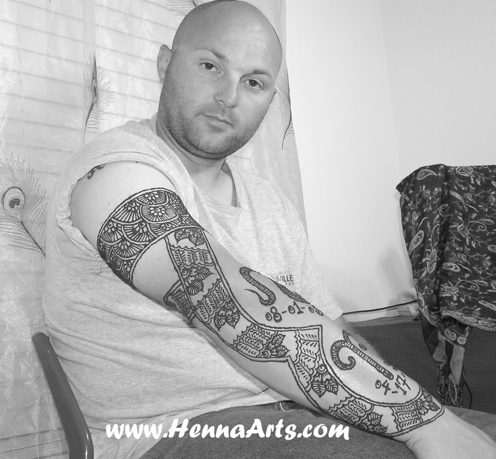 Guy With Henna Tattoo Design On Right Arm