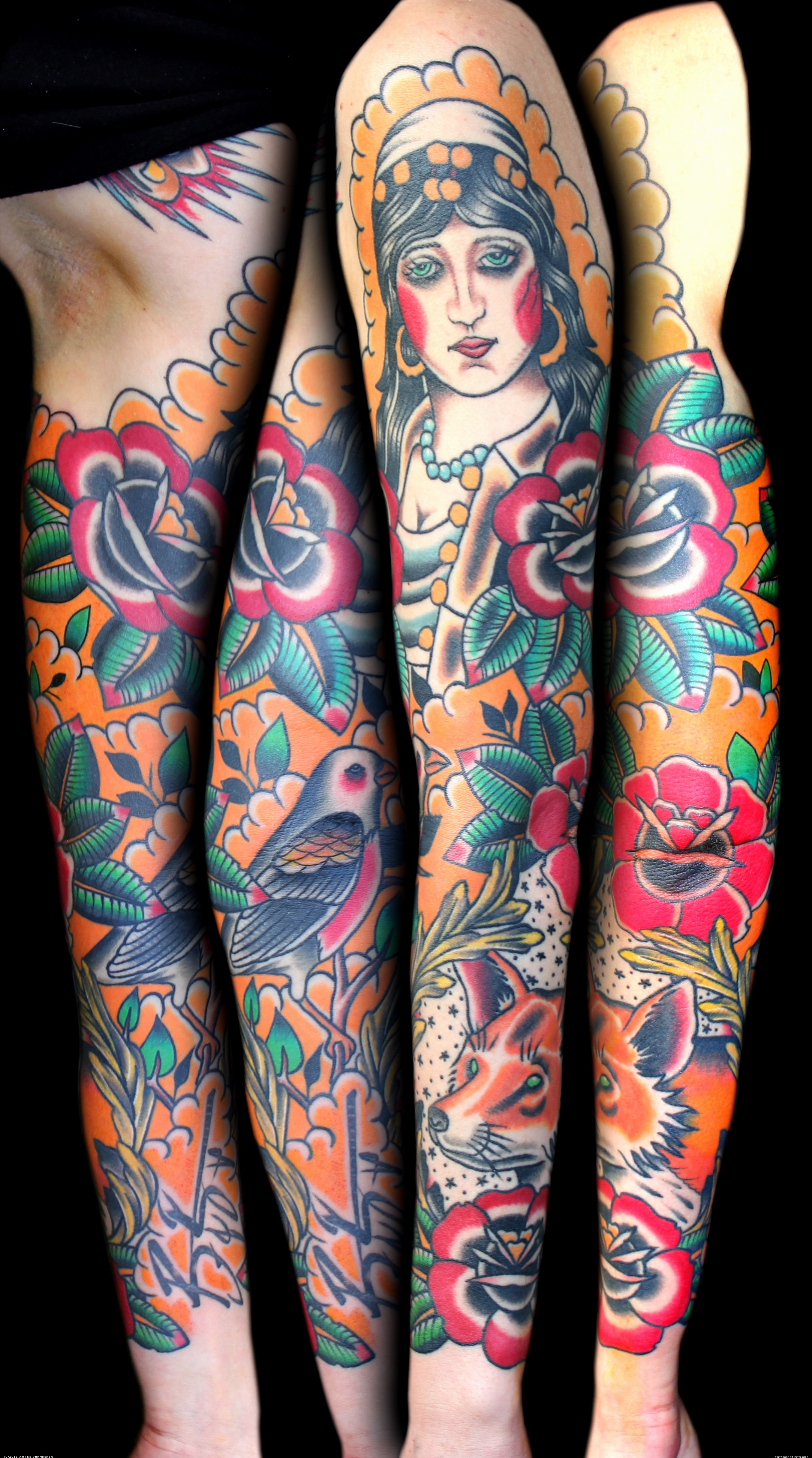 Gypsy Flowers Bird Tattoo On Sleeve