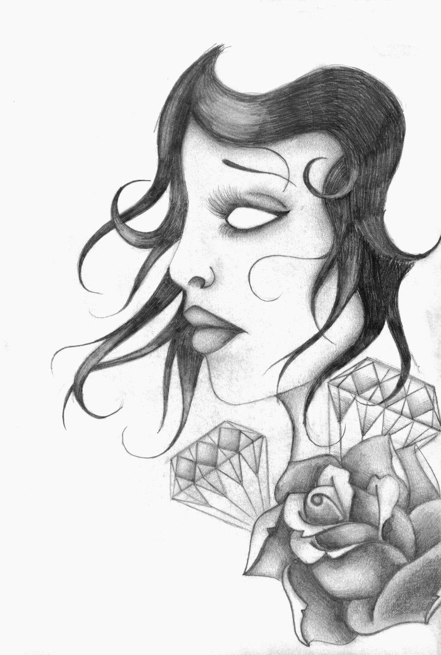 Gypsy Girl Diamonds n Rose Tattoo Sketch