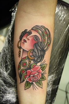 Gypsy Girl n Rose Tattoo On Arm