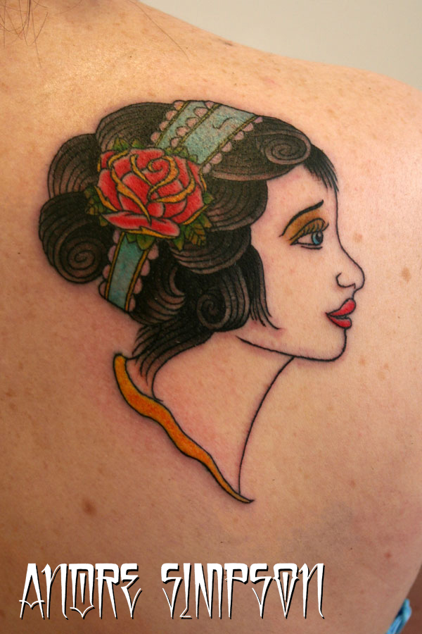 Gypsy Girl n Rose Tattoo On Back Of Shoulder