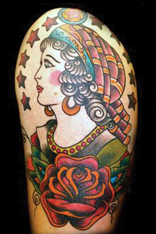 Gypsy Girl Traditional Tattoo Design