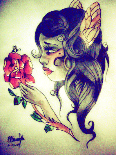Gypsy Girl With Red Flower Tattoo Design