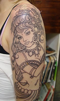 Gypsy Outline Tattoo On Sleeve