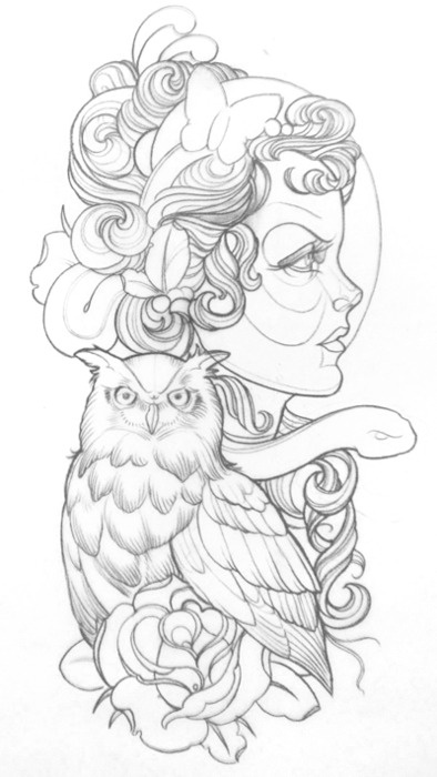 Gypsy Owl Tattoo Sketch