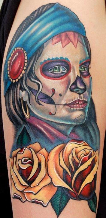 Gypsy Sugar Skull Girl n Yellow Roses Tattoo Design