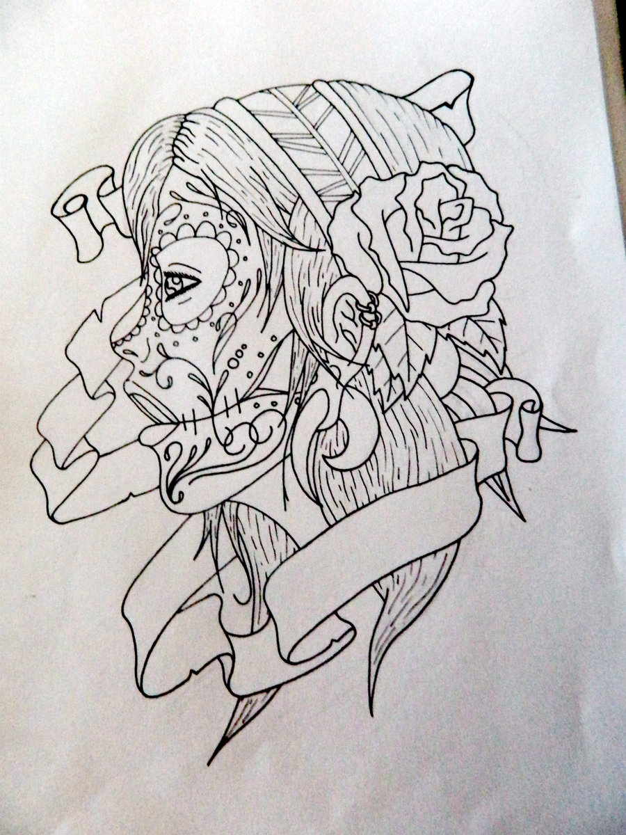Gypsy Sugar Skull Girl Tattoo Design