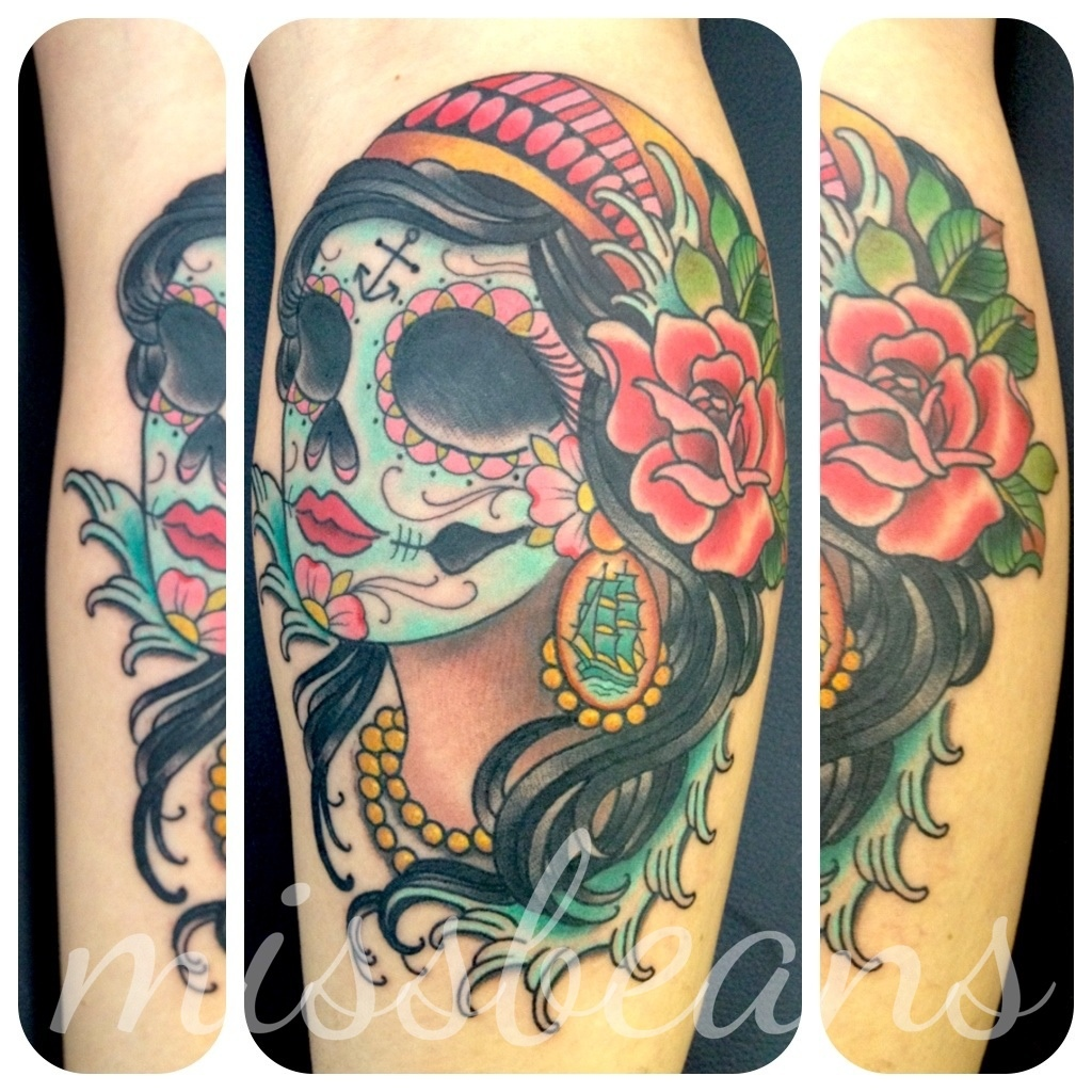 Gypsy Sugar Skull n Rose Tattoo Design