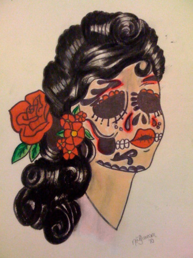 Gypsy Sugar Skull Tattoo Design